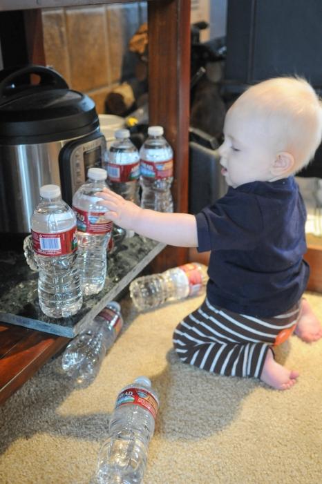 Rearranging water bottles