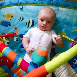 Play time on the play mat.
