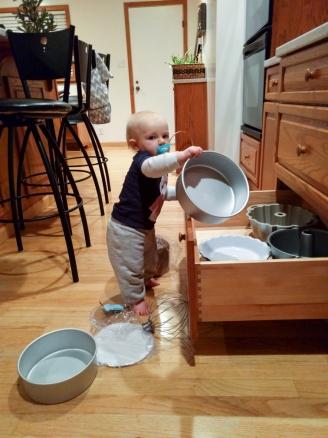 Sorting the baking pans
