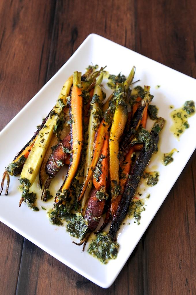 Roasted carrots w/lemon mint  vinaigrette