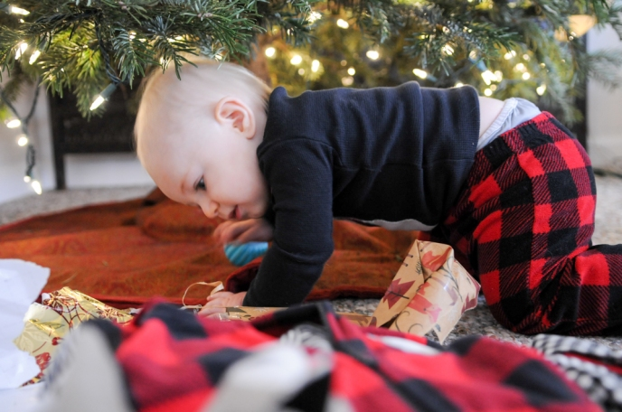 Cautiously crawling under the tree