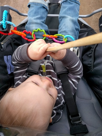Entertained with a wooden spoon.
