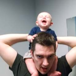 Playing with daddy.