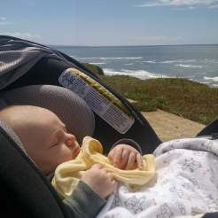Like a true Californian, Gabe already has hanging out by the ocean down.