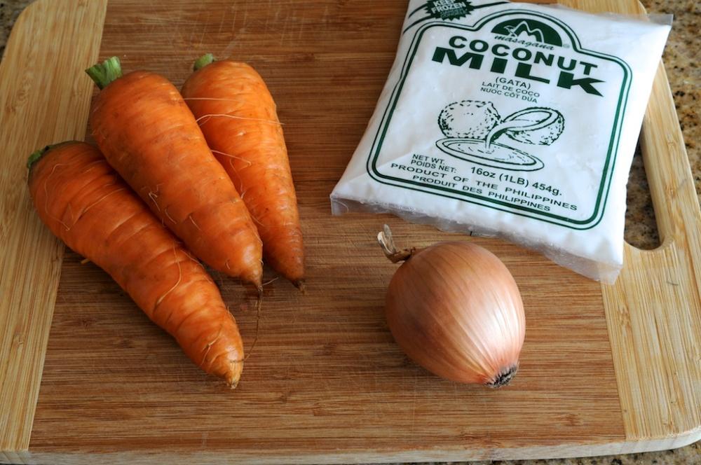 Carrots, coconut milk, onion