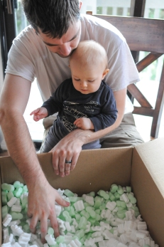 Introducing him to packing peanuts