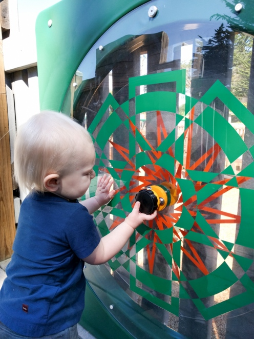 Spinning the wheel at the playground!